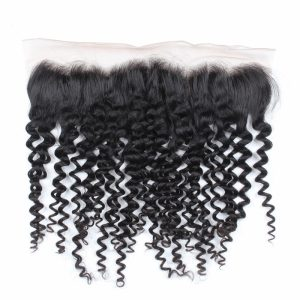 Pre Plucked Hair Line 13 x 4 Lace Fontal Curly Virgin Human Hair Ear To Ear Closures
