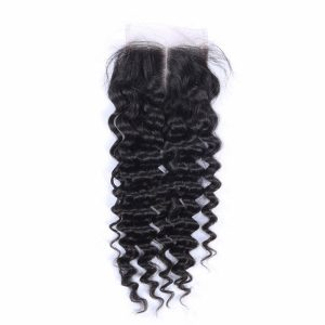 Lace closure 4x4 Deep Wave Brazilian Mink Hair Free Part