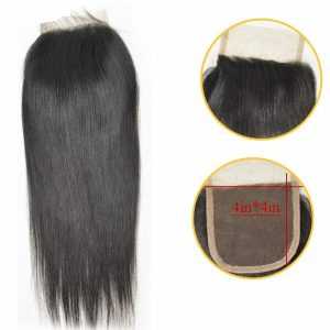 Straight Hair Closure Virgin Human Hair 4x4 Lace Closure Free Part Hand Tied