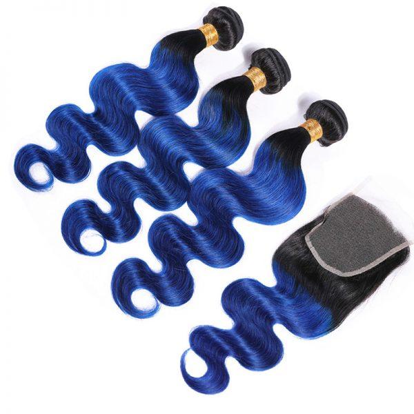 1b blue hair bodywave hair with closure