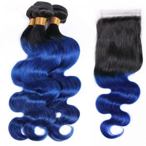 1b blue hair bodywave hair with closure