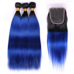 1b blue hair with closure