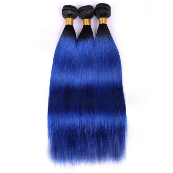 1b blue hair with closure