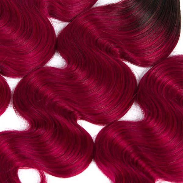 1b burguandy hair with closure
