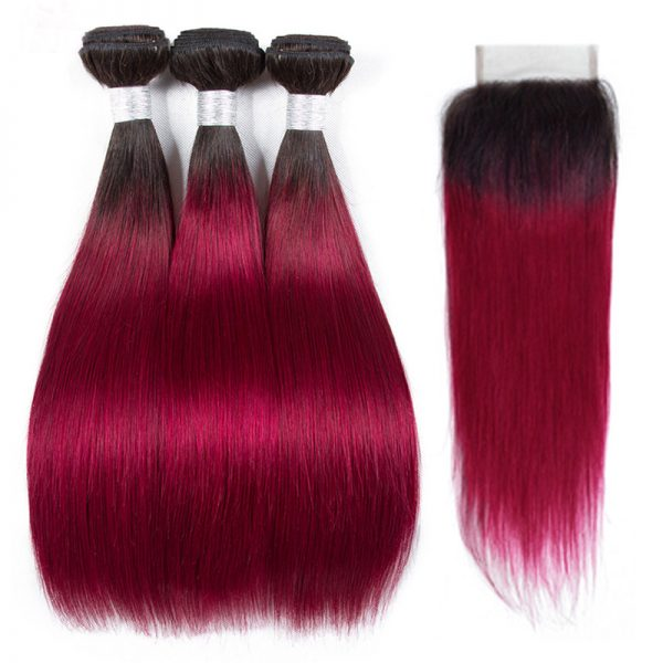 1b burguandy straight hair (