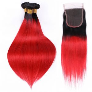 1b red straight hair with closure