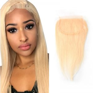 6x6 613 Blonde Lace Closure Straight Pre Plucked Human Hair Free Part