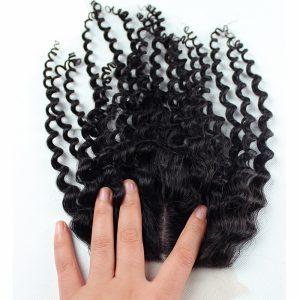 Brazilian Hair Curly 100% Human Hair Silk Base Closure