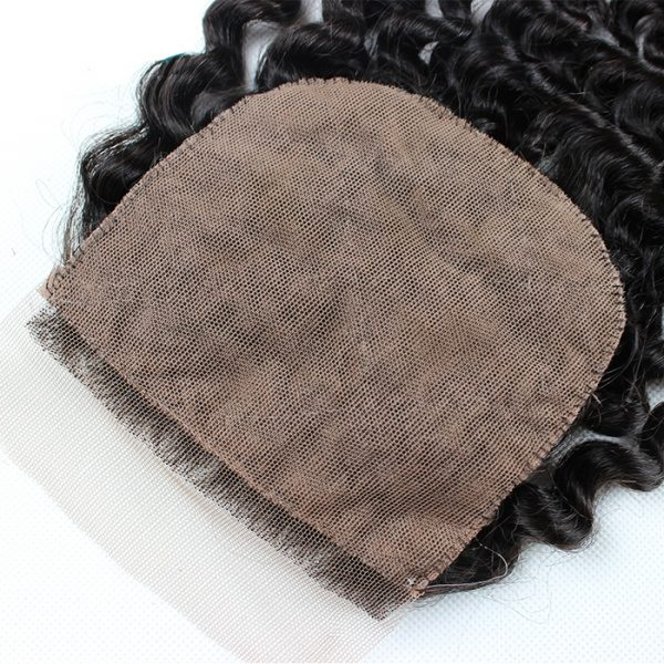 Brazilian Hair Curly 100% Human Hair Silk Base Closure