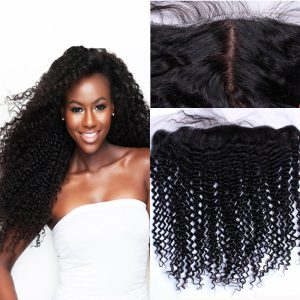 13*4 Pre Plucked Brazilian Human Hair Curly Silk Base Frontal with Baby Hair
