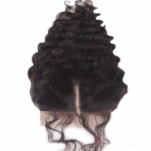 Brazilian Remy Human Hair Deep Wave Silk Base Closure With Baby Hair