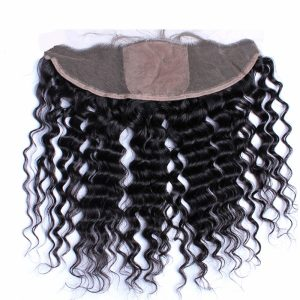 Large Stock Swiss Lace Frontal Virgin Deep Wave Natural Black Hair 13X4 Silk Base Frontal