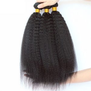 Standard Grade kinky straight 1-2 Bundle Deals Virgin Human Hiar Natural Black