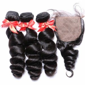 Premium Grade Human Hair With Silk Base Closure Deal Loose Wave