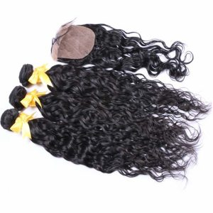 Premium Grade Human Hair With Silk Base Closure Deal Natural Wave