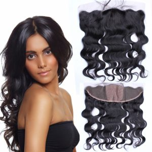 Body Wave Nature Black Virgin Human Hair Free Part High Density 13X4 Silk Base Frontal